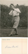 Golf Collectibles:Autographs, Circa 1920 Willie Hunter Signed Index Card & UnsignedPhotograph....