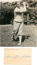 Golf Collectibles:Autographs, Circa 1928 Harrison Johnston Signed Index Card & Unsigned WirePhotograph....