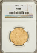 Liberty Eagles: , 1855 $10 AU50 NGC. NGC Census: (45/348). PCGS Population (50/79).Mintage: 121,701. Numismedia Wsl. Price for problem free ...