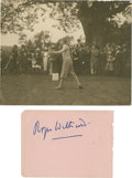 Golf Collectibles:Autographs, 1920's Roger Wethered Signed Album Page & UnsignedPhotograph....