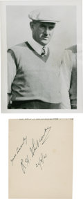 Golf Collectibles:Autographs, 1941 R.A. Whitcombe Signed Page and 1938 Unsigned Photograph....