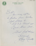 Golf Collectibles:Autographs, 1930's Johnny Revolta Handwritten Signed Letter....