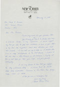 Golf Collectibles:Autographs, 1989 Herbert Warren Wind Handwritten Signed Letter....