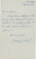 Golf Collectibles:Autographs, 1961 George Voigt Handwritten Signed Letter....