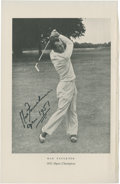 Golf Collectibles:Autographs, 1951 Max Faulkner Signed Book Photograph....