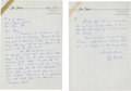 Golf Collectibles:Autographs, 1959 Jim Ferrier Handwritten Signed Letter....