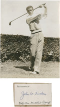 Golf Collectibles:Autographs, 1933 John W. Fischer Signed Card & Unsigned Photograph....