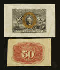 Fractional Currency:Second Issue, Fr. 1314SP 50¢ Second Issue Wide Margin Face, Narrow Margin Back Extremely Fine.... (Total: 2 notes)