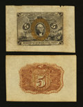 Fractional Currency:Second Issue, Fr. 1232SP 5¢ Second Issue Wide Margin Pair About New.... (Total: 2 notes)