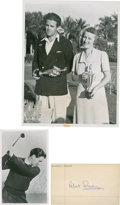Golf Collectibles:Autographs, 1940's Dai Rees Signed Photograph & Bob Sweeny Signed IndexCard....