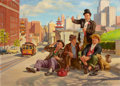 Mainstream Illustration, ART FRAHM (American, 1906-1981). Traveling Hobo Series: In SanFrancisco. Oil on canvas. 26.25 x 36 in.. Signed lower ri...