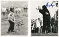 Golf Collectibles:Autographs, 1980's Jack Nicklaus & Gary Player Signed Vintage PhotographsLot of 2....