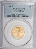 Modern Issues: , 1994-W G$5 World Cup Gold Five Dollar MS70 PCGS. PCGS Population(58). NGC Census: (465). Mintage: 22,464. Numismedia Wsl. ...