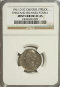 Errors, 1961-D 5C Jefferson Nickel--Obverse Struck Thru and Retained Staple--XF45 NGC....