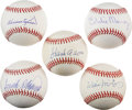 Autographs:Baseballs, 500 Home Run Club Members Single-Signed Baseballs Lot of 5.... (Total: 5 card)