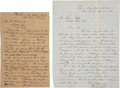 Autographs:Military Figures, [John Brown of Osawatomie] Two John Brown Jr. Autograph Letters Signed. The two letters, John Brown Jr.'s retained copies, a...