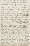 "Autographs:Military Figures, [John Brown of Osawatomie] Owen Brown Autograph Letter Signed. Two pages, 5"" x 7.75"", December 6, 1866, ""Corn Planter, Ven..."