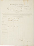 "Autographs:Military Figures, Robert E. Lee Report Card Signed ""R E Lee"" as president of Washington College. One page, 8"" x 10.5"", May 31, 186..."