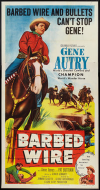 "Barbed Wire (Columbia, 1952). Three Sheet (41"" X 81""). Western"