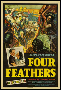 "Four Feathers (United Artists, 1939). One Sheet (27"" X 41""). Action"