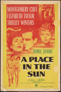 """A Place In The Sun (Paramount, 1951). One Sheet (27"""" X 41""""). Film Noir"""
