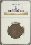 Bust Quarters: , 1824/2 25C Good 6 NGC. B-1. NGC Census: (2/45). PCGS Population (3/85). Mintage: 24,000. Numismedia Wsl. Price for problem...