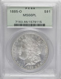 1885-O $1 MS66 Prooflike PCGS. PCGS Population (26/1). NGC Census: (25/4). Numismedia Wsl. Price for NGC/PCGS coin in MS...