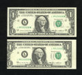 Error Notes:Miscellaneous Errors, Fr. 1913-L $1 1985 Federal Reserve Notes. Crisp Uncirculated. The first note in this pair is normal, while the second note ...
