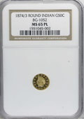 California Fractional Gold, 1874/3 50C Indian Round 50 Cents, BG-1052, High R.4, MS65 ProoflikeNGC....