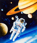 Mainstream Illustration, CHRIS CALLE (American, b. 1961). Space illustrations, one oftwenty-six works for the US Stamps and Philatelic Center ofM...