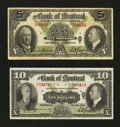 Canadian Currency: , Montreal, PQ- The Bank of Montreal $5, $10 Jan. 3, 1938 Ch. 505-62-02, 505-62-04. ... (Total: 2 notes)