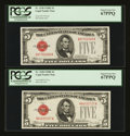 Small Size:Legal Tender Notes, Fr. 1530 $5 1928E Legal Tender Notes. Two Examples. PCGS Superb Gem New 67PPQ.. ... (Total: 2 notes)
