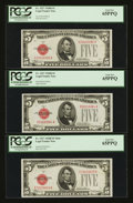 Small Size:Legal Tender Notes, Fr. 1527 $5 1928B Legal Tender Notes. Three Examples. PCGS Gem New 65PPQ.. ... (Total: 3 notes)
