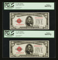 Small Size:Legal Tender Notes, Fr. 1525 $5 1928 Legal Tender Notes. Two Examples. PCGS Gem New 66PPQ.. ... (Total: 2 notes)