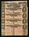 Confederate Notes:1864 Issues, T68 $10 1864 5 Series. T68 $10 1864 8 Series Eleven Examples.. ... (Total: 12 notes)