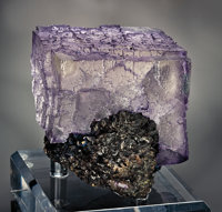 LILAC PURPLE FLUORITE CUBE PERCHED ON SPHALERITE