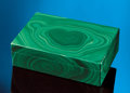 Lapidary Art:Boxes, BRIGHT GREEN MALACHITE BOX. ...