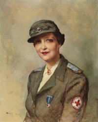 FRIED PAL (Hungarian-American, 1893-1976) American Red Cross Service Woman Oil on canvas 30 x 24