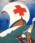 Mainstream Illustration, E. SEAVER (American, 20th Century). High Seas Roll Call, posterillustration, 1923. Gouache on board. 28 x 23.5 in.. Sig...