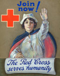 Mainstream Illustration, AMERICAN ARTIST (20th Century). Join Now, The Red Cross ServesHumanity. Mixed media on board. 37.5 x 29 in.. Not signed...(Total: 3 Items)