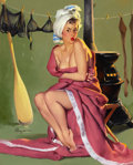 Pin-up and Glamour Art, GIL ELVGREN (American, 1914-1980). Blanket Coverage (And Now'sthe Time to See if Frozen Assets Can Be Thawed), 1952. Oi...