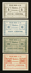 Obsoletes By State:Ohio, Youngstown, OH- Wick Bros. & Co. 5¢; 10¢; 25¢; 50¢ WolkaUnlisted. ... (Total: 4 notes)