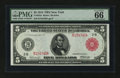 Large Size:Federal Reserve Notes, Fr. 833a $5 1914 Red Seal Federal Reserve Note PMG Gem Uncirculated 66 EPQ....