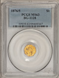 California Fractional Gold, 1876/5 $1 Indian Octagonal 1 Dollar, BG-1128, R.5, MS63 PCGS....