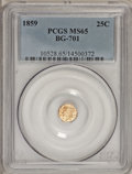 California Fractional Gold, 1859 25C Liberty Octagonal 25 Cents, BG-701, Low R.6, MS65 PCGS....