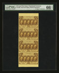 Fractional Currency:First Issue, Fr. 1280 25¢ First Issue Vertical Strip of Four PMG GemUncirculated 66 EPQ. . ...