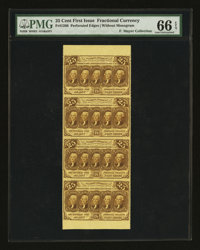 Fr. 1280 25¢ First Issue Vertical Strip of Four PMG Gem Uncirculated 66 EPQ