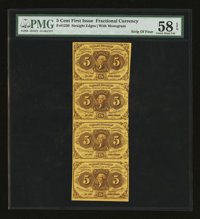 Fr. 1230 5¢ First Issue Strip of Four PMG Choice About Unc 58 EPQ