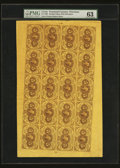 Fr. 1230 5¢ First Issue Full Sheet of Twenty PMG Choice Uncirculated 63