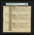 Colonial Notes:Maryland, Maryland 1733 1s6d Sheet of Three PMG About Uncirculated 55....(Total: 1 sheet)